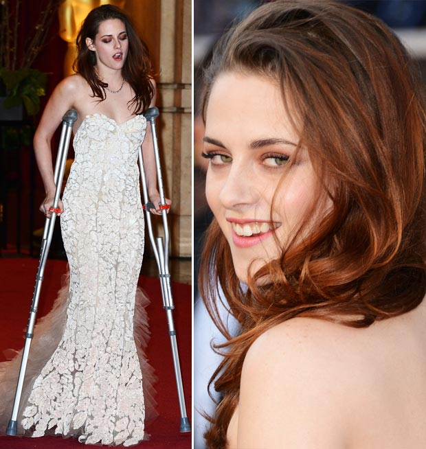 Kristen Stewart white dress crutches 2013 Oscars