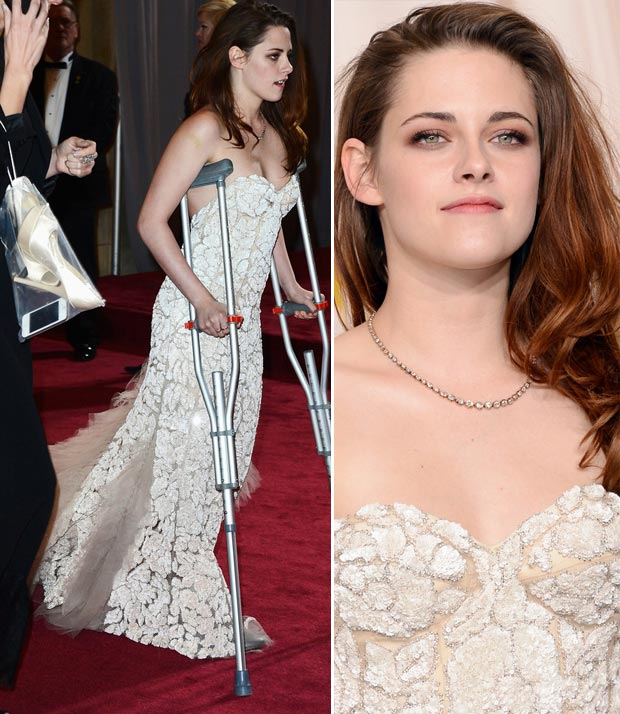 Kristen Stewart white dress platform pumps 2013 Oscars