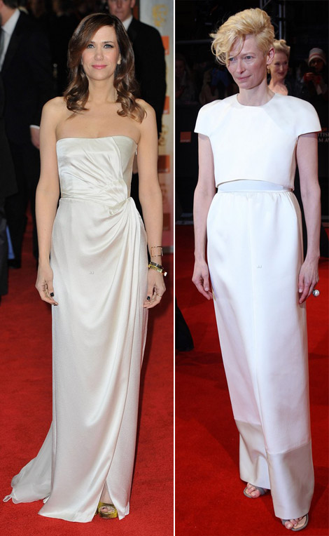 2012 BAFTA Awards White Dresses: Kristen Wiig, Tilda Swinton