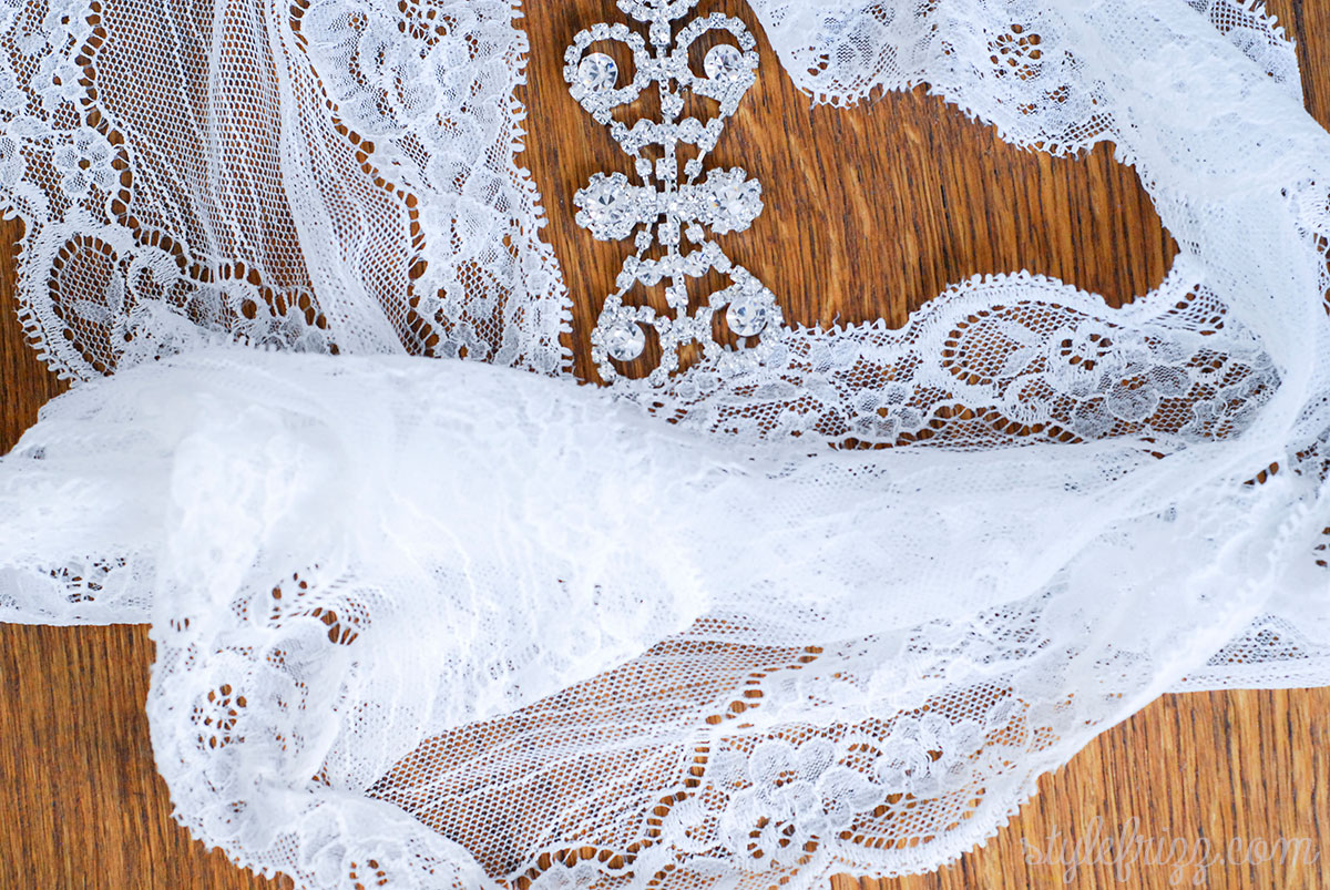 DIY Vintage Lace Wedding Veil With Crystals