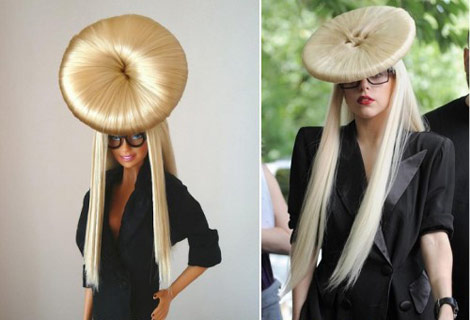 Lady Gaga Barbie Doll button hair