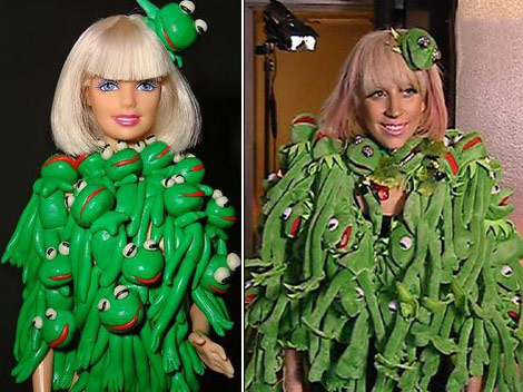 Lady Gaga Barbie Kermit coat