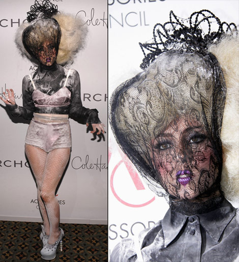 Lady Gaga covered face outfit aces awards