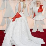 Lady Gaga white dress Alaia red gloves Oscars 2015