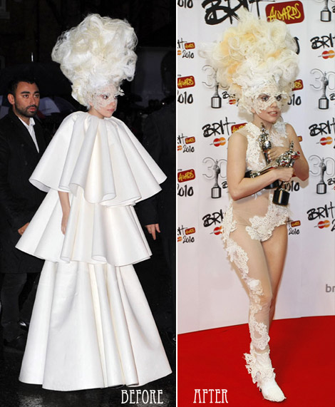 Lady Gaga white dress Brits 2010