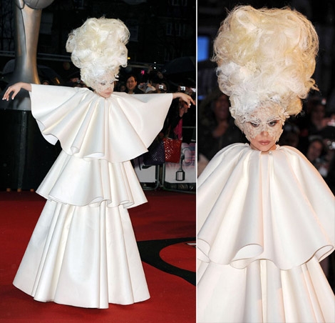 Lady Gaga white layered dress Brit Awards 2010