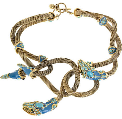 Lanvin twisted blue snake necklace