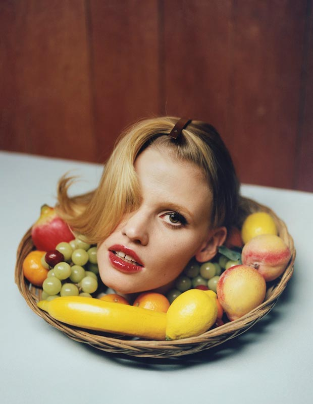 Lara Stone i D Spring 2013 head on a platter