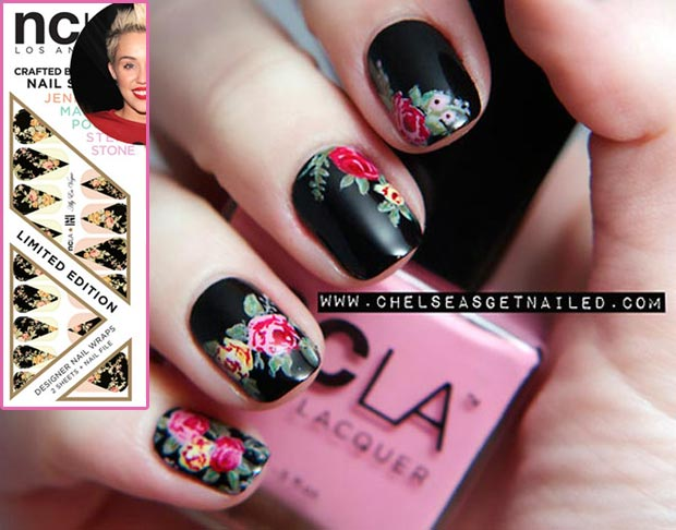 latest nails trends Brocade Nail Art vs NCLA nail wraps