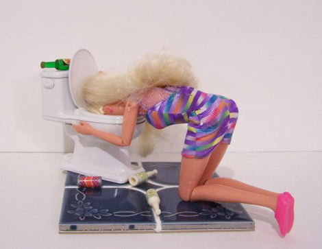 Lavonne Salle Altered Barbie Hugging the Porcelain