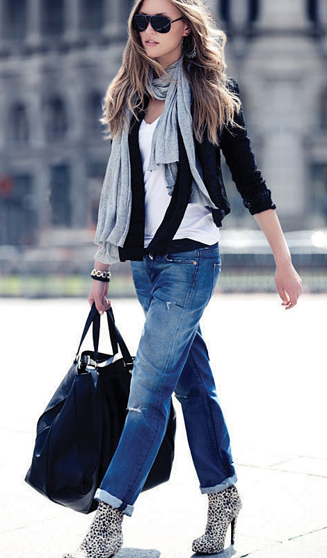 Layered scarves cardi bf jeans perfect outfit