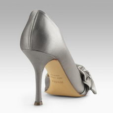 Le Silla Satin Pump With Bow Back View