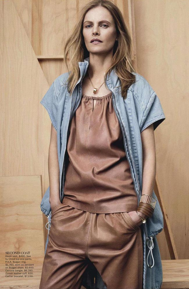 leather and denim Vogue Australia January 2013