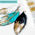 leather feathered gold dipped earrings Sabrina Chin