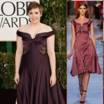 Lena Dunham Zac Posen maroon dress 2013 Golden Globes