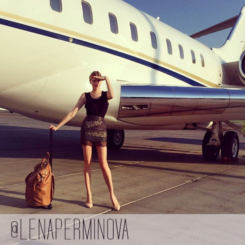 Lena Perminova airoport style two months after birth