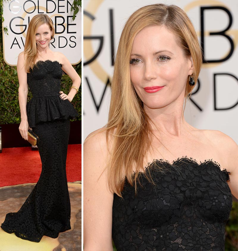 Leslie Mann black lace dress 2014 Golden Globes Dolce Gabbana