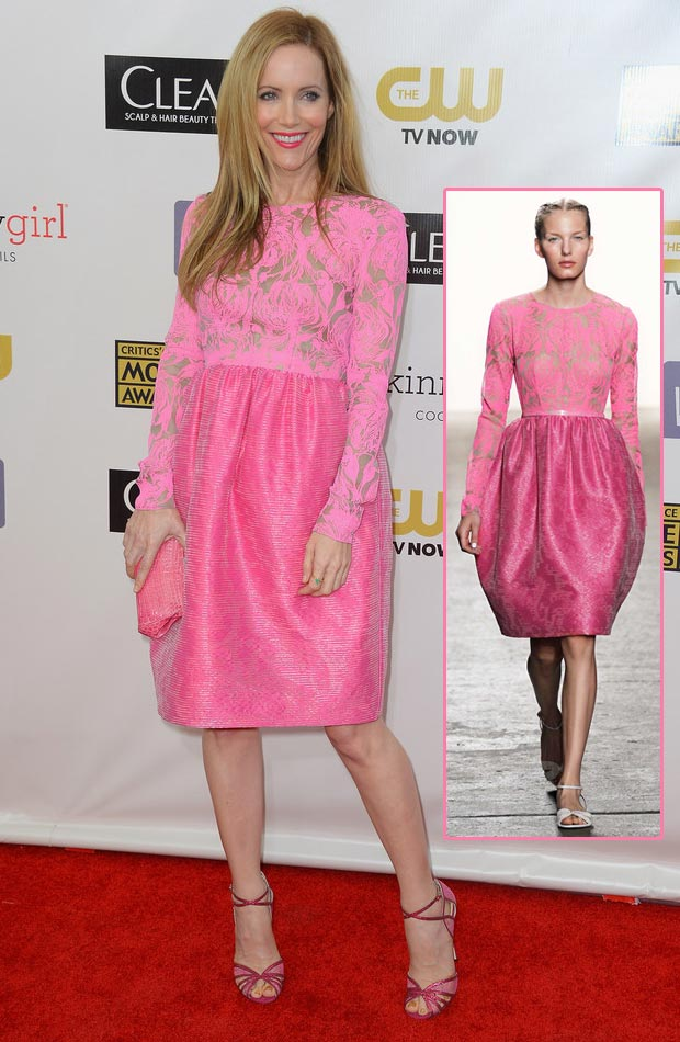 Leslie Mann pink Honor dress Critics Choice Awards 2013