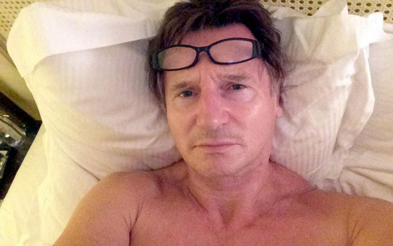 Liam Neeson in bed wakeupcall challenge
