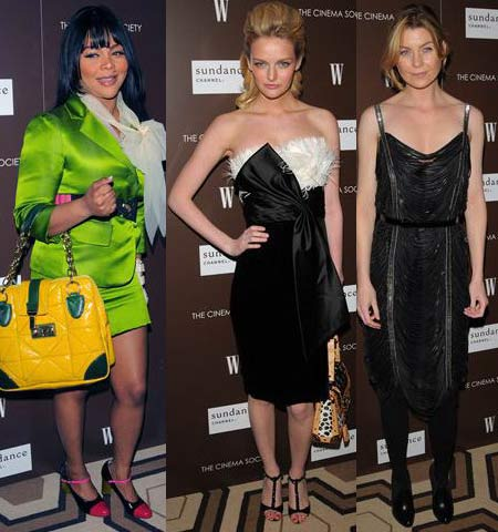 Lil Kim, Lydia Hearst and Ellen Pompeo at Marc Jacobs and Louis Vuitton screening