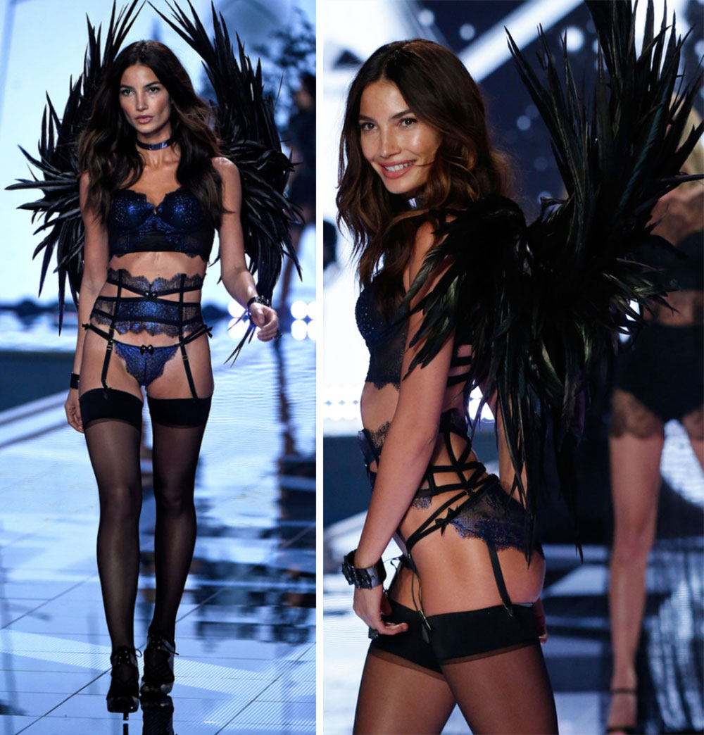 Lily Aldridge Victoria s Secret Fashion Show 2014 feathers