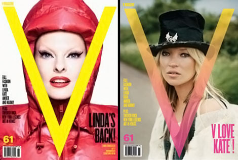 Linda Evangelista Kate Moss V September 2009 covers