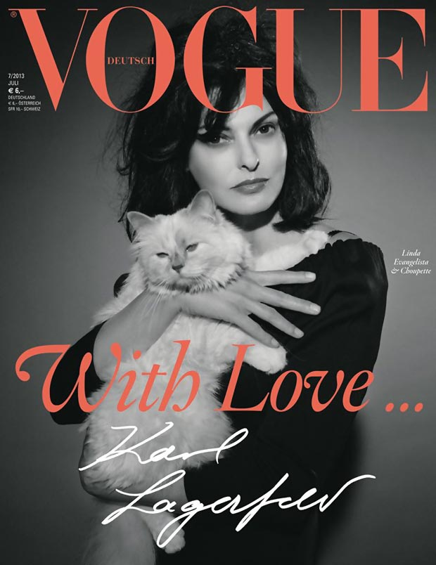 Linda Evangelista, Choupette Cover Vogue Germany July 2013