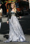 Lindsay Lohan Grey Dress
