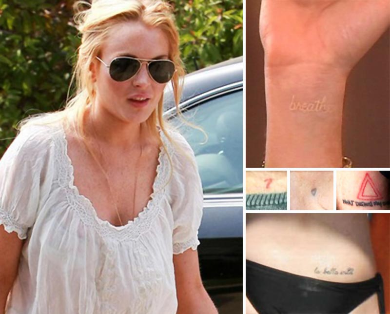 Lindsay Lohan ink all over her body
