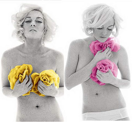 Lindsay Lohan as Marilyn Monroe for The Last Sitting pictures with colored scarfs