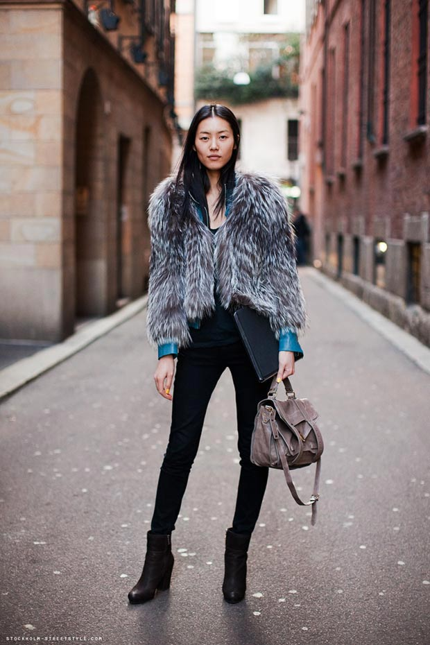 Liu Wen off duty look fur coat