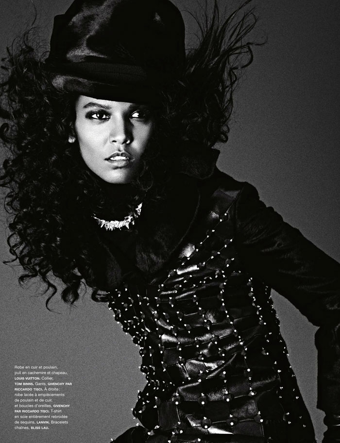 Liya Kebede black and white Numero France pictorial
