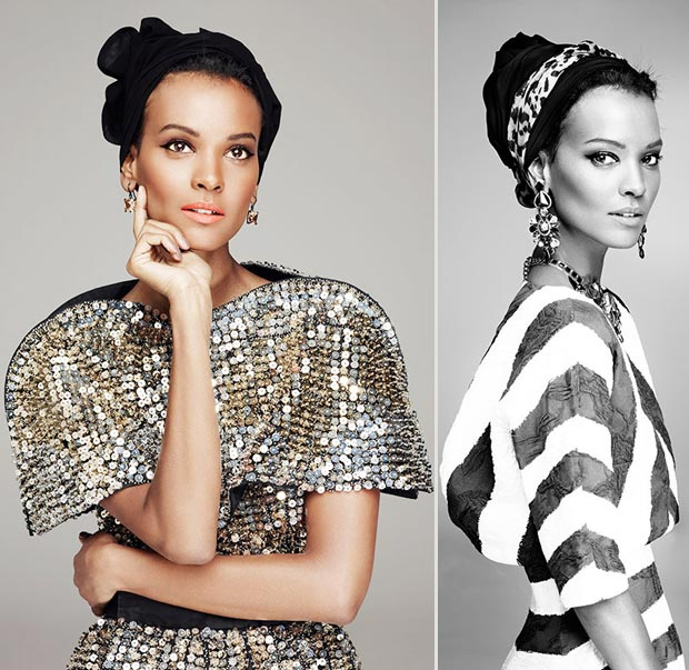 Liya Kebede bleached Amica April 2013 pictorial