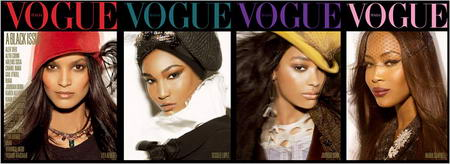 Lyia Kebede Sessilee Lopez Jourdan Dunn Naomi Campbell Vogue Italy July 2008 Cover