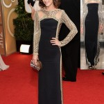 Lizzie Caplan black dress Emilio Pucci 2014 Golden Globes