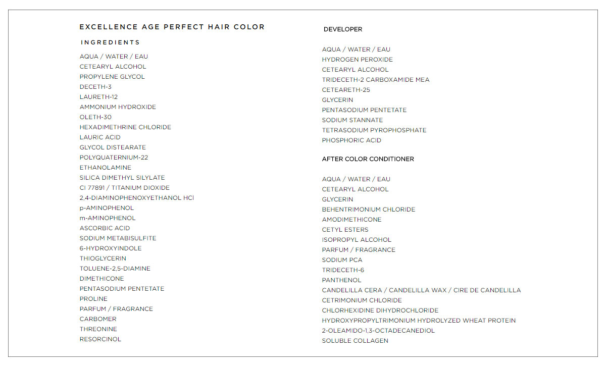 l oreal paris hair dye ingredients list