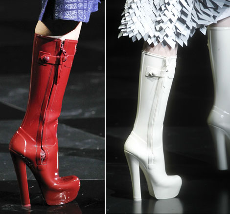 Louis Vuitton high heel wellies