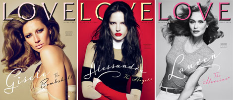 Alessandra Ambrosio, Gisele Bundchen, Lauren Hutton Cover Love Four