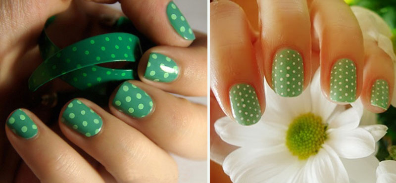 lovely simple spring nails green dotted nails