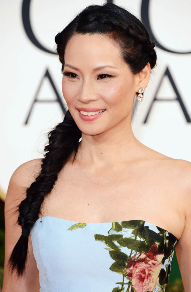 Lucy Liu 2013 Golden Globes makeup jewelry hairdo