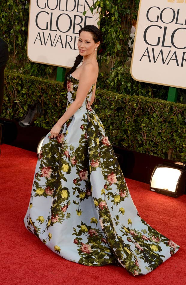 Lucy Liu 2013 Golden Globes Red Carpet