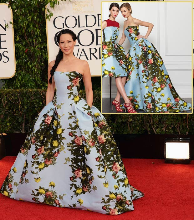 Lucy Liu Carolina Herrera flowery dress 2013 Golden Globes