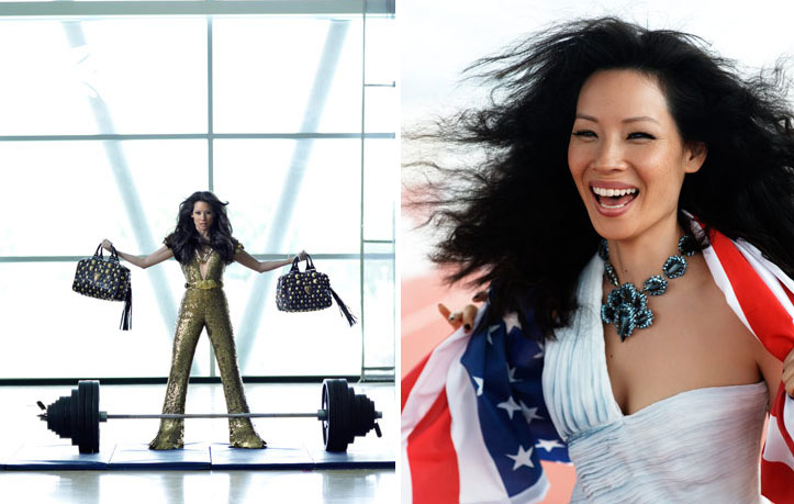 Lucy Liu Fashion Olympics Harpers Bazaar Lifting Bags