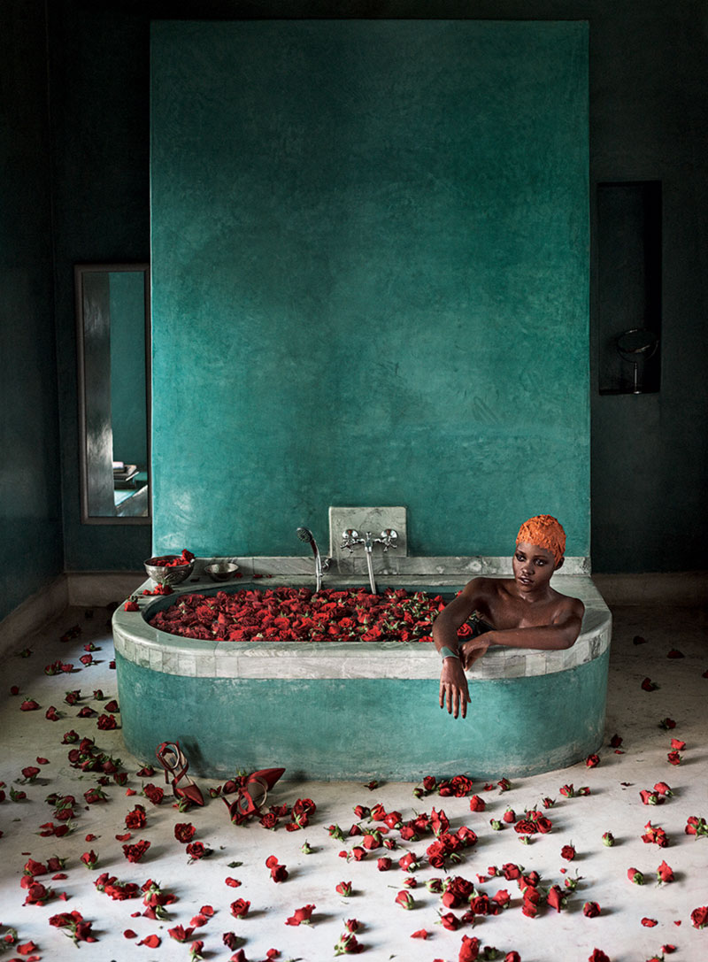 Lupita Nyong o taking a bath Vogue