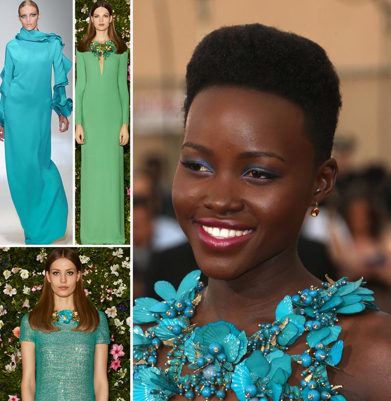 Lupita Nyong'o teal Gucci dress neck details