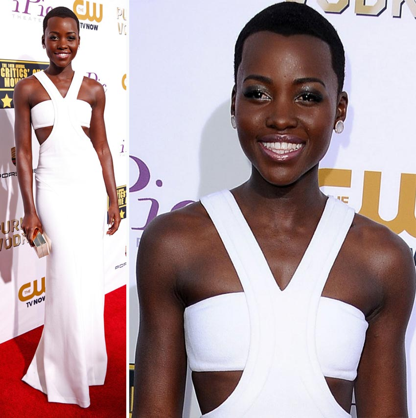 Lupita N Yong O white dress 2014 Critics Choice Awards