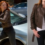 Madewell chocolate leather jacket Captain America Scarlett Johansson