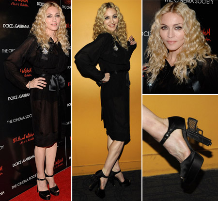 Madonna Chanel Miami Vice gun sandals Filth and Wisdom premiere 13oct08