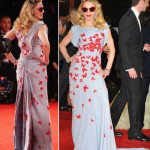 Madonna red butterflies Venice premiere dress