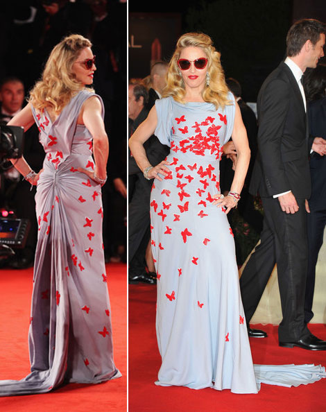 Madonna's Vionnet Red Butterflies Dress Venice W.E. Premiere Red Carpet